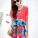 Women Long Tops Blouse T Shirts Loose Tunic Plus Size Red Print Short Batwing Sleeve Summer
