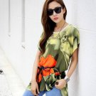 Women Long Tops Blouse T Shirts A Loose Tunic Plus Size Floral Print Short Batwing Sleeve Summer