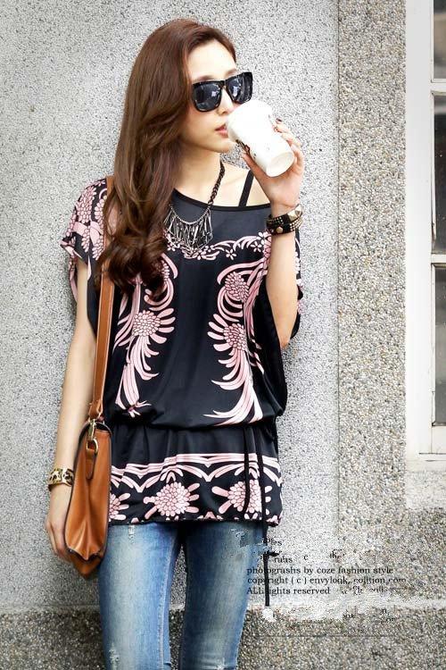 Women Long Tops Blouse T Shirts Loose Tunic Plus Size Black Phoenix Print Short Batwing Sleeve