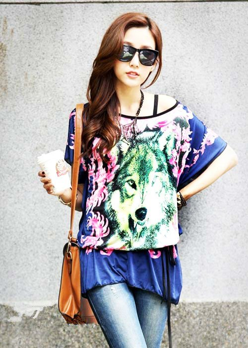 Women Long Tops Blouse T Shirts Loose Tunic Plus Size Blue Wolf Print Short Batwing Sleeve Summer