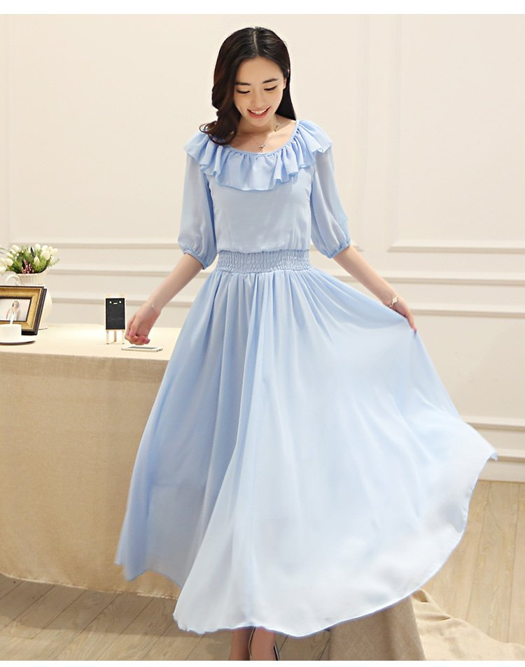Blue M Women Girls Casual Elegant Chiffon Long Dresses Ruffle Half Sleeve Spring Autumn