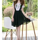 Black Women Girls Casual Chiffon Mini Suspender Skirts Overalls Preppy Style A Line Circle