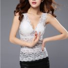 White Fashion Women Casual Sexy Lace Tank Tops Blouse Sleeveless V Neck