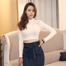 White M Women Casual Sexy Crop Top Bodycon T Shirts Blouse Long Sleeve Turtleneck