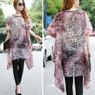 Fashion Women Ladies Casual Loose Oversized Plus Size Leopard Floral Chiffon Long Shirts Tops