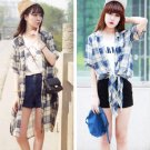 Blue Fashion Women Girls Casual Grid Plaid Long Chiffon Shirts Tops Blouse Short Sleeve