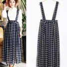 Black Grid Plaid Women Girls Casual Chiffon Long Suspender Skirts Preppy Style