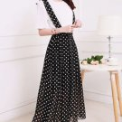 Black Dots Women Girls Casual Chiffon Long Suspender Skirts Preppy Style