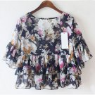 Royal Blue Casual Women Girls Chiffon Short Floral Shirts Tops Blouse Tiered Ruffle