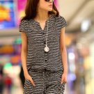 Striped M Women Girls Casual Short Jumpsuits Romper Short Sleeve Summer