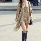 Fashion Casual Women Pullover Sweater Batwing Loose Boho Tassel Fringe Round Neck