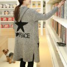 Fashion Women Female Casual Long Cardigan Sweater Hoodies Stars Print Grey Autumn Winter