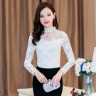 White M  Women OL Elegant Lace Shirts Tops Blouse Fitness Turtleneck Long Sleeve Spring Autumn