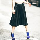 Black M Women Casual Faux Leather Skirts Knee Length Pleated Spring Autumn