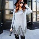 Grey Fashion Women Casual Pullover Sweater Knitwear Jumper Fringe Tassel Round Neck