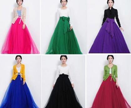 Wine Red Women Long Tulle Gauze Skirts Elegant Prom Party Wedding