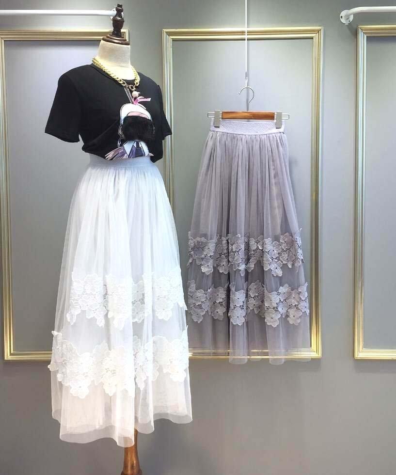 White Fashion Women Casual Long Skirts Gauze Tulle Lace Flower Elegant