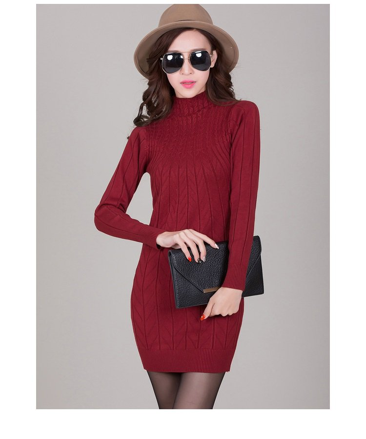 Wine Red Women Pullover Sweater Dresses Fitness Bodycon Wrapped Turtleneck Spring Autumn