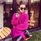 Purple Women Girls Casual Pullover Sweater Knitwear Loose Baggy