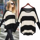 Women Pullover Sweater Knitwear Striped Irregular Asymmetrical Loose Baggy Round Neck