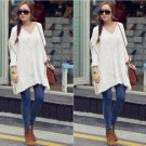 White Women Pullover Sweater Knitwear V Neck Loose Baggy Batwing Autumn Winter