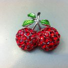 Red Hat Red Cherry Crystal Brooch