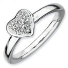 Silver Stackable ring with diamond heart
