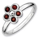 Silver Stackable ring with garnet flower