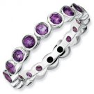Silver stackable ring with amethyst eternity band
