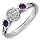 Silver stackable ring with amethyst and diamonds