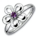 Silver stackable ring with amethyst flower