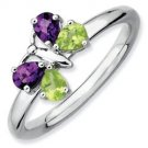 Silver stackable butterfly ring with semi-precious stones
