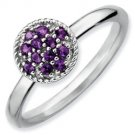 Silver stackable ring with amethyst