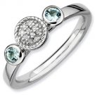 Silver stackable ring with aquamarine and diamonds