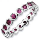 Silver stackable ring with rhodolite garnet eternity band
