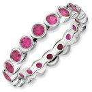 Silver stackable ring with rubies eternity band