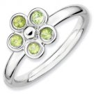 Silver stackable ring with peridot flower