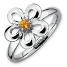Silver stackable ring with citrine flower