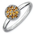 Silver stackable ring with citrines