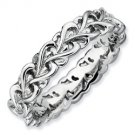 Silver stackable ring with hearts band