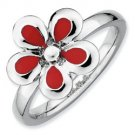 Silver stackable ring with enamel red flower