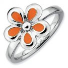 Silver stackable ring with enamel orange flower