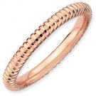 Silver stackable ring with 18k rose gold plate