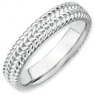 Silver stackable ring shiny
