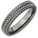 Silver stackable ring with black ruthenium plate textured