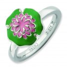 Silver stackable ring Enamel Water Lily; Flower of the Month for July