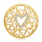 """Nikki Lissoni, yellow gold, """"Surrounded by Hearts"""" Coin Insert"""