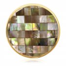 "Nikki Lissoni, Yellow Gold, ""Brown Mosaic Shell"" Coin Insert"