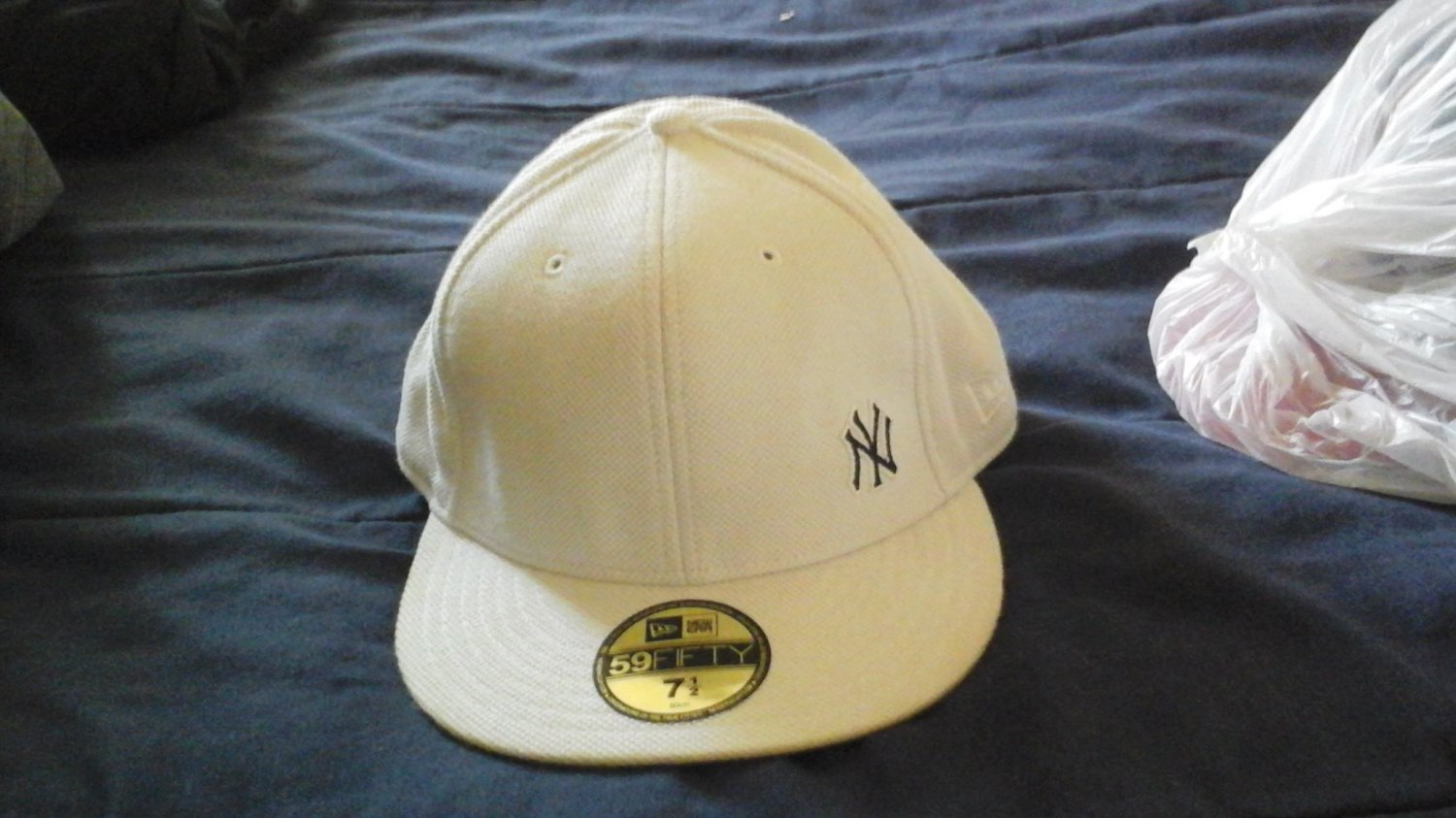 NEW ERA HAT FITTED CAP 5950 NEW YORK YANKEES FLAWLESS WHITE HAT 7 1/2