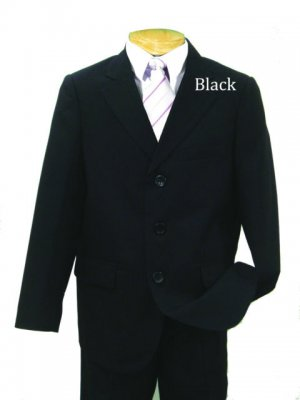 NWT Vittorio St. Angelo Boys Suit Size 16 Husky in Black